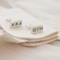 Men's Wedding Accessories – Personalised Stamped Porcelain Cufflinks, Hand-shaped, hand-decorated cufflinks with stamped engraving, made from parian porcelain clay – a unique product by MaaPstudio via en.dawanda.com