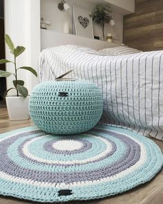 Round crochet area rug Grey rug Stripped rug Cotton Scandinavian floor rug