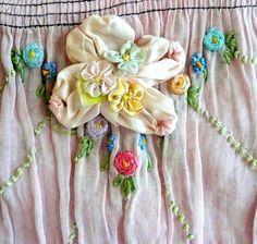 antique french pale pink ribbonwork flowers applique rose rosette