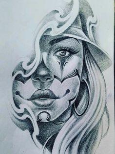 Aztec tattoo by Cholo Tattoo, Chicano Tattoos Sleeve, Chicano Style Tattoo, Chicano Tattoos Lettering, Arte Cholo, Cholo Art, Skull Girl Tattoo, Lion Tattoo, Inca Tattoo