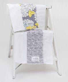 Gray Floral & Fuzzy Burp Cloth Set