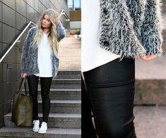 Motel Sweater, Gina Tricot Waxed Pants, Bik Bok Bag