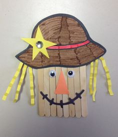 Scarecrow!  Cut out hat and kids color, construction paper, eyes, Popsicle sticks (put poster board square on back), Magnet, jewel, tacky glue. The kids loved this!