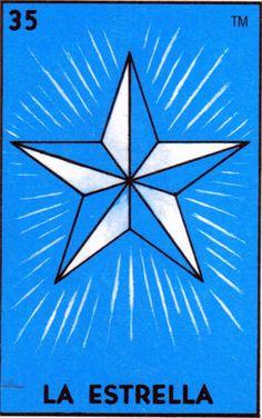 Old School Tattoo Star Art LA ESTRELLA Loteria Print 5 x 7 8