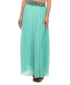 Look what I found on #zulily! Mint & Black Baroque Waistband Maxi Skirt - Plus Too #zulilyfinds