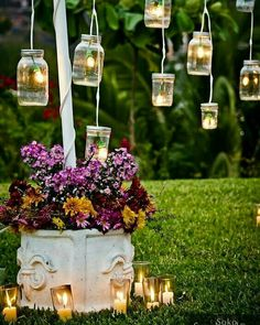 Vintage wedding reception decor vintage mason jars outdoor wedding decor id Vintage Mason Jars, Mason Jar Diy, Backyard Lighting, Outdoor Lighting, Lighting Ideas, Wedding Lighting, Lighting Design, Event Lighting, Landscape Lighting