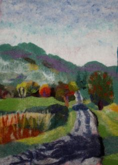 Fall Autumn Landscape Nuno Felted French Scene Needle and Wet Felt Wall Hanging Tapestry