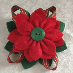 Christmas Felt Poinsettia Pin Red and Green Felt by dorothydesigns, $25.00