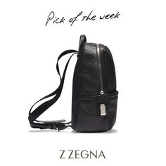 Zegna's #pickoftheweek: Z Zegna black #backpack with embossed pentagon pattern > http://bit.ly/1UF3PHi