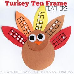Practice Math with these ten frames and a cute turkey craft! Math Activities For Kids, Learning Games For Kids, Thanksgiving Activities, Fun Math, Counting Activities, Thanksgiving Crafts, Number Sense Kindergarten, Kindergarten Math, Preschool