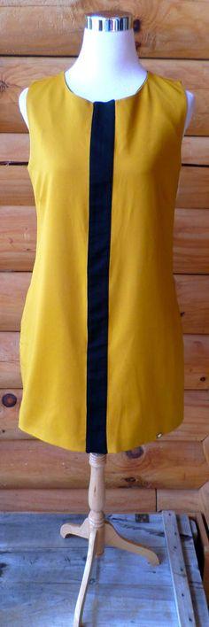 $125 European Brand ARON Marigold & Black Mod Style Shift Dress Sz 42 (10 US)