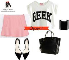 3 x 1: Looks con falda rosa de Zara www.entremiltacones.com