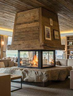 8 new ski hotels- 8 nouveaux hôtels au ski Winter 8 new hotels in ski resorts – rougemont gstaad hotels - Modern Cabin Interior, Chalet Interior, Home Interior Design, Home Fireplace, Fireplace Design, Fireplaces, Cabin Homes, Log Homes, Chalet Design