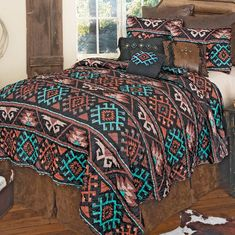 Southwest Bedroom, Southwest Quilts, Western Furniture, Furniture Decor, Western Bedding Sets, Quilt Sets Queen, Black Forest Decor, Leather Pillow, Western Homes