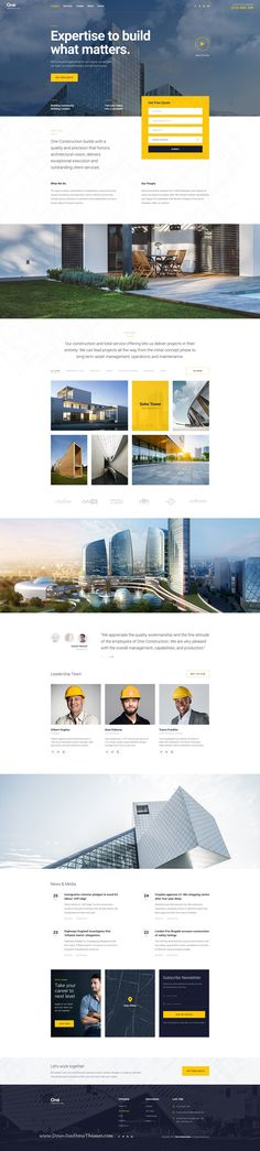Onne is clean and modern design multipurpose #PSD template for #construction company #website with 21+ niche homepage layouts and 54 layered PSD files to live preview & download click on Visit