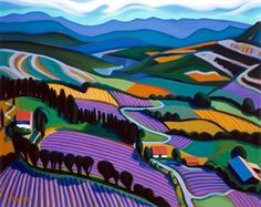 "Tracy Turner French Landscapes Valley of Lavender oil on canvas 24""x 30"""