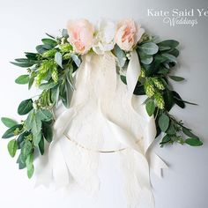 Lush flowing romantic!  12-inch floral greenery wedding hoop with eucalyptus lamb's ear hops peonies and lace.  Love this design!  Bridal hoop bouquet by Kate Said Yes Weddings. Handmade Wedding Favours, Personalized Wedding Gifts, Hops Wedding, Silk Wedding Bouquets, Wedding Flowers, 2018 Wedding Trends, Garden Wedding Inspiration, Peonies Bouquet, Wedding Accessories