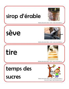 Mots étiquettes | Rapido-Présco Home Daycare, French Immersion, Maple Syrup, Preschool Activities, Kindergarten, Canada, Classroom, Parenting, Teaching