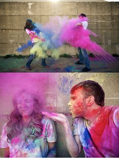 Paintball fight - 30 Engagement Photo Ideas  <3 <3