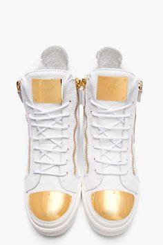 GIUSEPPE ZANOTTI White Leather Gold-Plated High-Top Sneakers