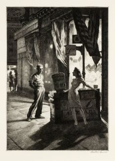 Night prints of Martin Lewis, the forgotten teacher of Edward Hopper - Cultura Inquieta Source by , Norman Rockwell, Rockwell Kent, Edward Hopper, Drypoint Etching, Davidson Galleries, Illustration Art, Illustrations, Wood Engraving, Nocturne