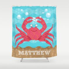 Personalized Under the Sea Shower Curtain Children's by krankykrab, $78.00