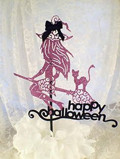"""Halloween Witch Cat Cake Topper. Halloween Witch Cake Topper - Custom made to your color. This is a real cutie! Created in glitter card stock. In the photo it is done in a soft purple with black accents. It can be made in your colors to match your party. This Cake Topper is a food related item and custom made to your details - No returns or refunds available Measuring at 8"""" tall x 8"""" wide and connected to a 12"""" wooden pole - If you need a different size please message me. SINGLE OR DOUBLE..."""