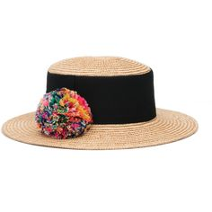 Eugenia Kim Brigitte Straw Boater Hat (€400) ❤ liked on Polyvore featuring accessories, hats, accessories hats, neutral, flat brim hats, brimmed hat, wide brim hat, wide straw hat and feather hat