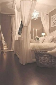 Even the bedroom is the sole room in the home you can and ought to stay private. This is the very personal spot for every single person. Read Cozy Romantic Bedroom Design Ideas For Comfortable Bedding Dream Rooms, Dream Bedroom, Master Bedroom, Diy Bedroom, Canopy Bedroom, Diy Canopy, Serene Bedroom, Bedroom Wall, Bedroom Artwork