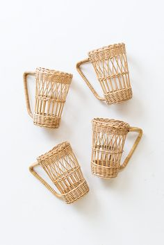 vintage wicker straw cup holders