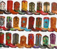 """Pick your cowboy boot artistry!  Santa Fe's """"Back at the Ranch"""" Cowboy Boots sports hundreds of custom made styles."""