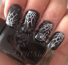 Halloween Nail Art Spider Web White Spider Water Decals Transfers Wraps