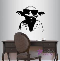 Wall Vinyl Decal Home Decor Art Sticker Master Yoda in Sunglasses Star Wars Kids Bedroom Living Room Removable Stylish Mural Unique Design *** Learn more by visiting the image link.