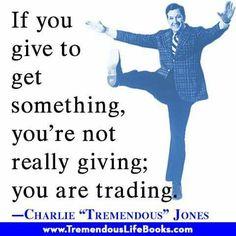 Charlie Jones giving is trading