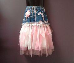 DENIM TUTU SKIRT girls tulle fairy tutu, white blue dusky pink, 10 11 12 year old, birthday party, wedding tutu, boho chic, flower girl