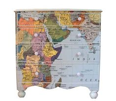 Working on something similar this week with our old dresser! I <3 Mod Podge :)  #dresser #decoupage #modpodge