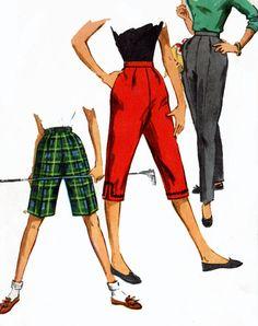 1950s Skinny Pants Pattern Simplicity 1059 Toreador Pants Bermuda Shorts Vintage 50s Sewing Pattern 25 in Waist 33 in Hips