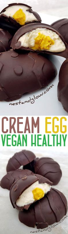 Heart healthy cashew cream eggs with no dairy or refined sugar in sight. Easy to make and taste better than the original cream eggs.