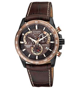 Citizen Men's Eco-Drive Perpetual Chrono A-T Brown Leather Strap Watch 42mm AT4006-06X - Watches - Jewelry & Watches - Macy's