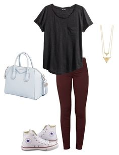 """I'm so tired of tests"" by livimay ❤ liked on Polyvore featuring J Brand, H&M, Converse, House of Harlow 1960 and Givenchy"