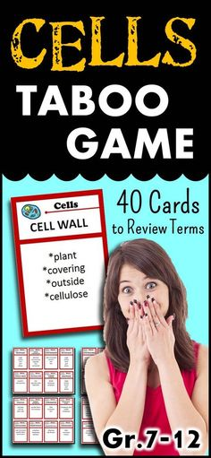 Cells Taboo Game - 40 Karten {Mit bearbeitbarer Vorlage} - Time to Teach - Bildung Science Cells, Science Games, Science Biology, Science Education, Life Science, Science Ideas, Cell Biology, Ap Biology, Forensic Science