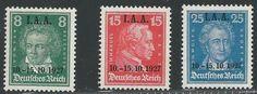 Deutsches Reich aus 1927 tagung des intern.arbeitsamtes.nr.389-391 und 398 mit aufdruck MiNr 407-409