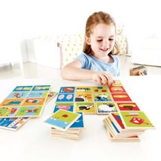 Story Lines - Match the right tiles into a line (the chicken lays eggs, the eggs are collected, the eggs are fried)--but then the fun comes when the kids tell the story of the progression in their own words! Language Activities, Infant Activities, Hape Toys, Picture Tiles, Wooden Picture, Different Games, Interactive Toys, Building For Kids, Language Development