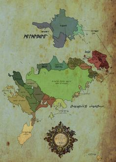 Fantasy Map- luv the relic & stained, used feel