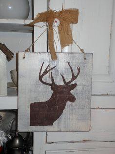 Rustic Deer Head Sign by kidatheart01 on Etsy, $16.00