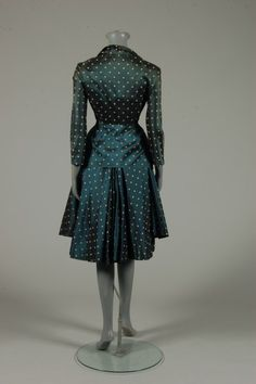 Christian Dior haute couture polka dot petrol blue silk dinner dress, Spring-Summer, 1948, Envol collection