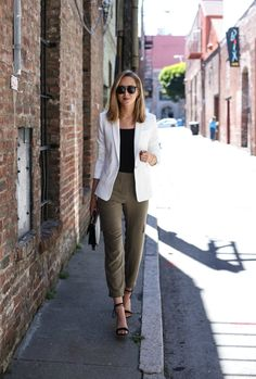 Olive Track Pants and White Blazer                                                                                                                                                      More