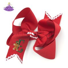 Personalized Christmas Gift for Girls! An adorable gingerbread bow that is personalized with the letter of your choice. The ric-rac adds a touch of whimsy to a truly special bow that is available in a variety of colors and sizes. This Christmas bow is the perfect accent to all of your holiday outfits! It is beautifully embroidered and is made in the boutique style. It will look wonderful in your holiday photos and at all of your holiday celebrations. Christmas Hair Bows, Christmas Gifts For Girls, Personalized Christmas Gifts, Elastic Headbands, Baby Headbands, Christmas Accessories, Boutique Bows, Holiday Photos, Holiday Outfits