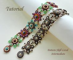 Beading tutorial instructions - beadweaving pattern beaded superduos or twin seed bead jewelry - beadwork JEWELED TILES beaded bracelet by PeyoteBeadArt on Etsy https://www.etsy.com/listing/153054589/beading-tutorial-instructions