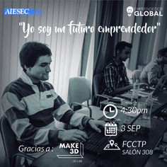#AIESECUSMP | ¡Tú también puedes ser un Emprendedor Global! Participa en la charla informativa que te permitirá conocer las herramientas necesarias para darle vida a tu proyecto de emprendimiento.